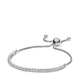 Sparkling Strand Bracelet, Sterling silver, Silicone, Cubic Zirconia - PANDORA - #590524CZ
