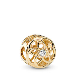 Loving Bloom Charm, Yellow Gold 14 k, Cubic Zirconia - PANDORA - #750598CZ