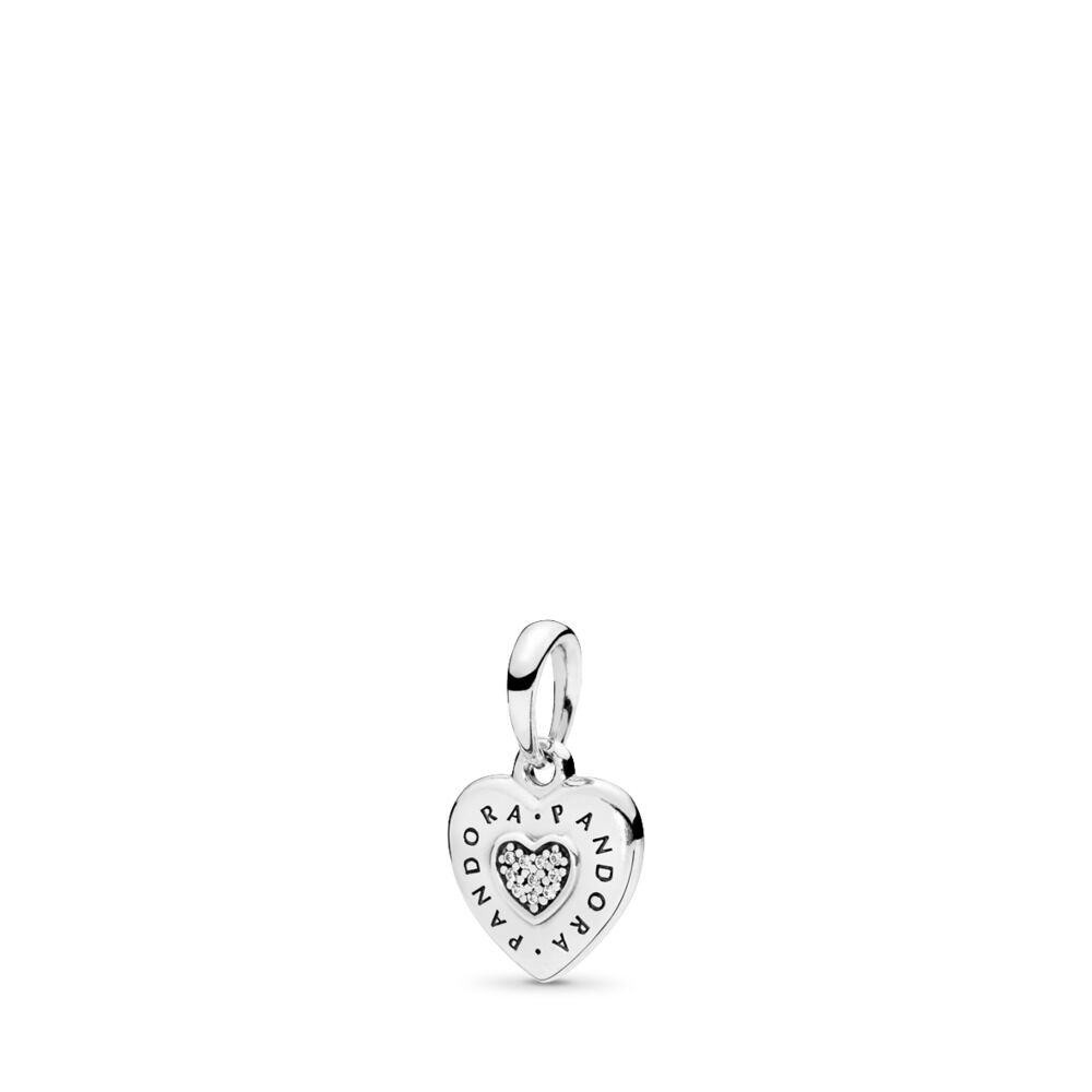 Pandora Logo Heart Necklace Pendant Sterling Silver