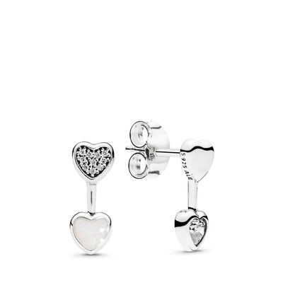 Hearts of Love Stud Earrings, Sterling silver, White, Cubic Zirconia - PANDORA - #290750CZ