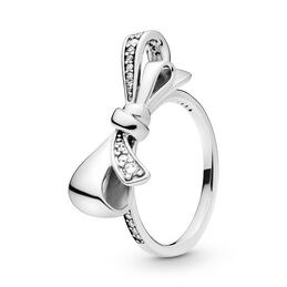 Brilliant Bow Ring, Sterling silver, Cubic Zirconia - PANDORA - #197232CZ