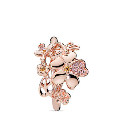 Wildflower Meadow Ring, PANDORA Rose, Pink, Mixed stones - PANDORA - #187083NPRMX