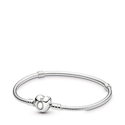 Moments Silver Bracelet with Heart Clasp, Sterling silver - PANDORA - #590719