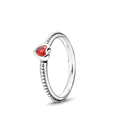 Delicate Heart Ring, Sterling silver, Red, Synthetic Ruby - PANDORA - #190896SGR