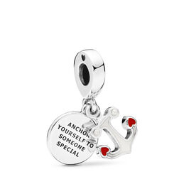 Anchor of Love Pendant Charm, Sterling silver, Enamel, Red, Crystal Pearl - PANDORA - #797208ENMX