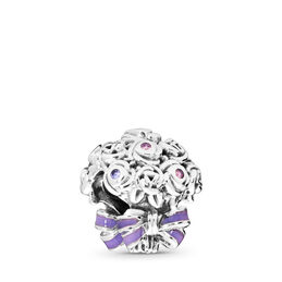 Celebration Bouquet Charm, Sterling silver, Enamel, Pink, Crystal - PANDORA - #797260NLC