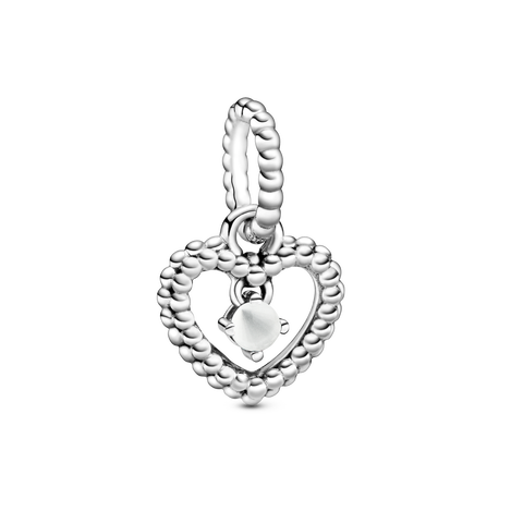 April Birthstone Heart  Dangle Charm
