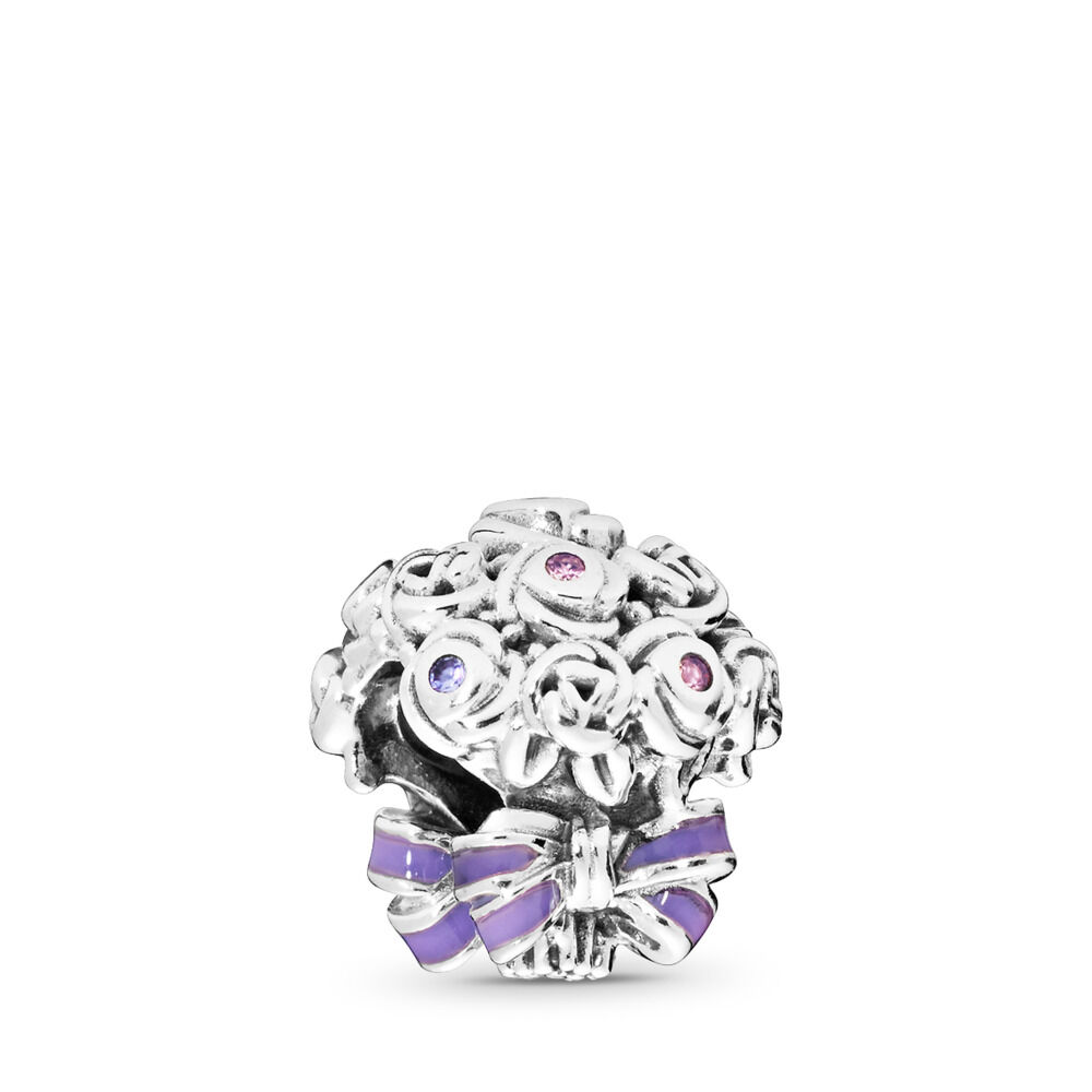 53aa5e847 Celebration Bouquet Charm, Sterling silver, Enamel, Pink, Purple,