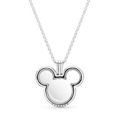 Disney, Mickey Floating Locket Necklace, Sterling silver, Glass - PANDORA - #397177-75
