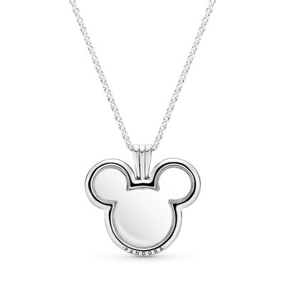 Disney, Mickey Floating Locket Necklace, Sterling silver, Glass - PANDORA - #397177
