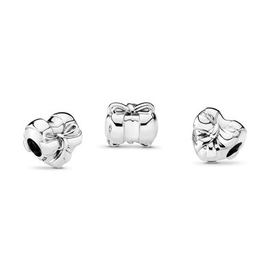 Brilliant Heart Bow Charm, Sterling silver - PANDORA - #797303