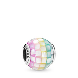 Multi-colour Mosaic Charm, Sterling silver, Acrylic, Blue, Mother of pearl - PANDORA - #797183MPR