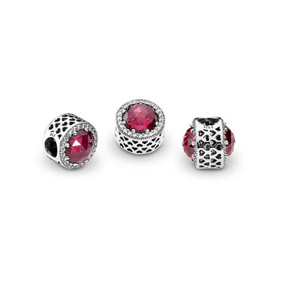 Cerise Radiant Hearts Charm, Sterling silver, Pink, Mixed stones - PANDORA - #791725NCC