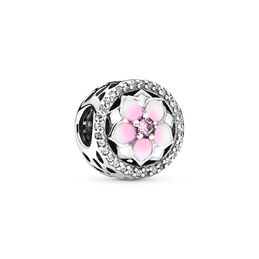 Magnolia Bloom Charm, Sterling silver, Enamel, Pink, Cubic Zirconia - PANDORA - #792085PCZ