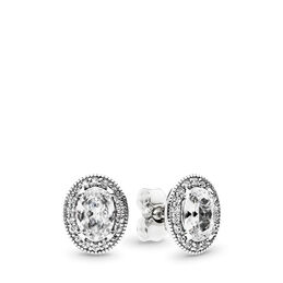 Vintage Elegance Stud Earrings, Sterling silver, Cubic Zirconia - PANDORA - #296247CZ
