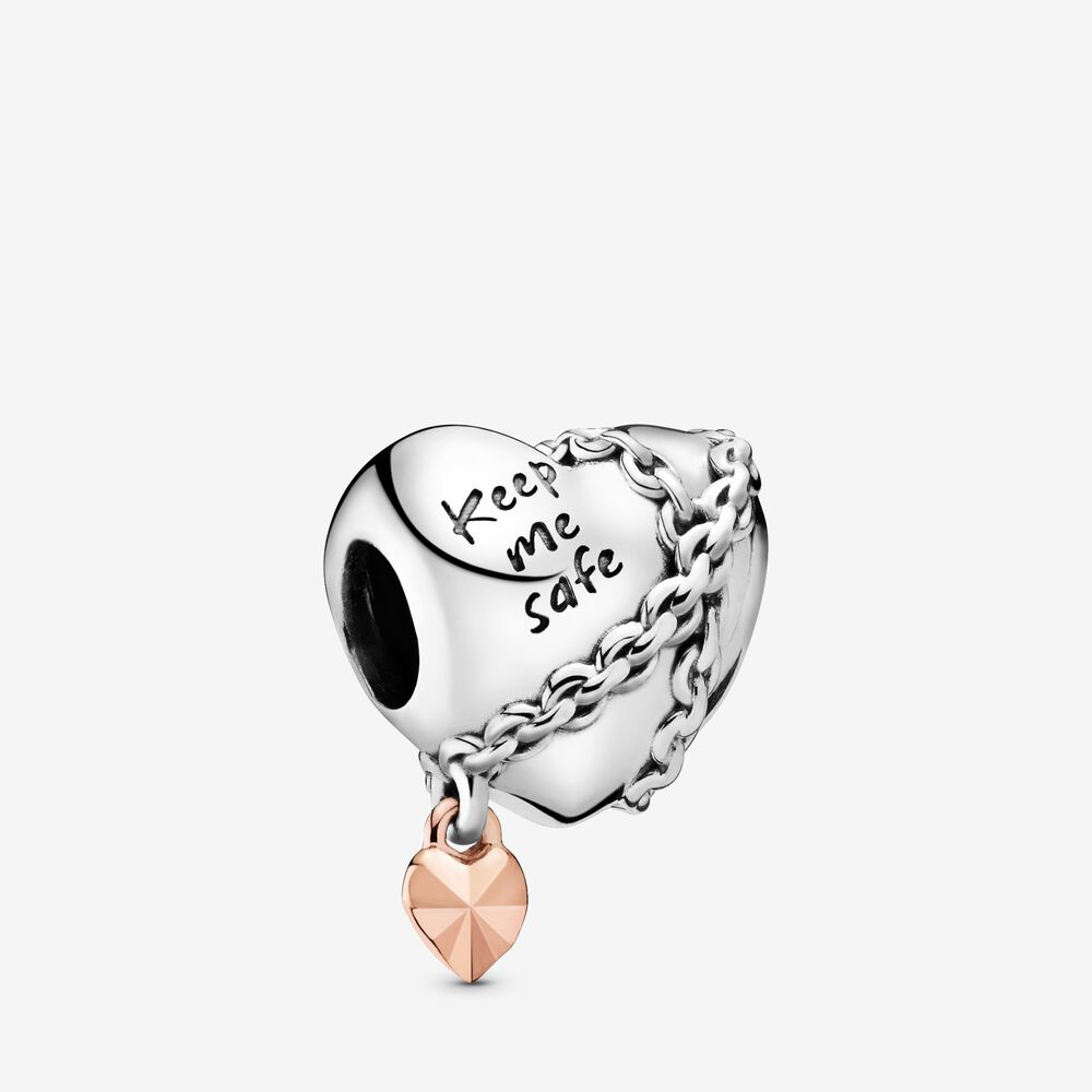 nuovi stili c0351 ec218 Chained Heart Charm, Sterling Silver and 14k Rose Gold ...