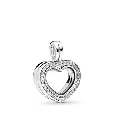 Sparkling PANDORA Heart Floating Locket Pendant Charm