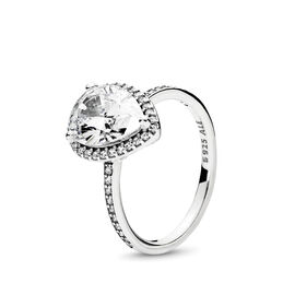 Radiant Teardrop Ring, Sterling silver, Cubic Zirconia - PANDORA - #196251CZ