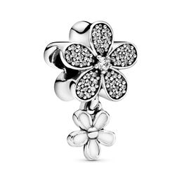 Dazzling Daisy Duo Pendant Charm, Sterling silver, Enamel, White, Cubic Zirconia - PANDORA - #792098CZ