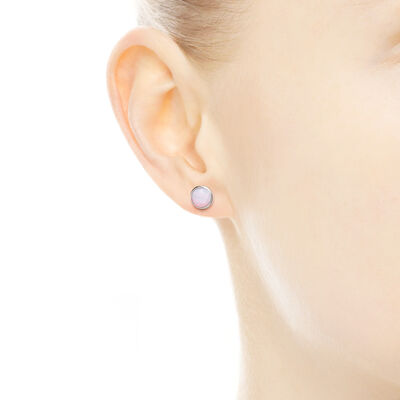 October Droplets Stud Earrings, Sterling silver, Pink, Crystal - PANDORA - #290738NOP