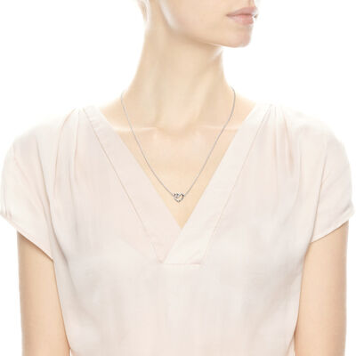 Ribbon of Love Necklace, Sterling silver, Cubic Zirconia - PANDORA - #590535CZ