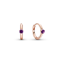 Purple Solitaire Huggie Hoop Earrings