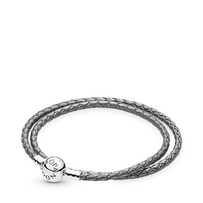 Moments Double Woven Leather Bracelet, Silver Grey, Sterling silver, Leather, Grey - PANDORA - #590745CSG-D