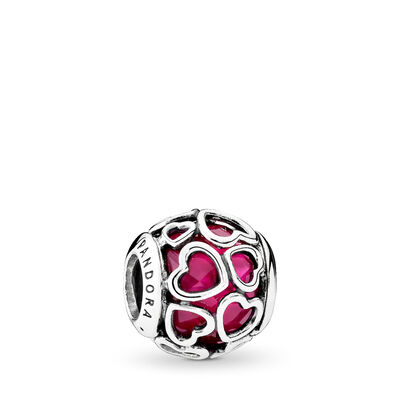 Cerise Encased in Love Charm, Sterling silver, Pink, Crystal - PANDORA - #792036NCC