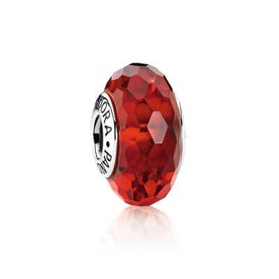 Red Faceted Murano Charm