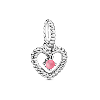 October Birthstone Heart Dangle Charm