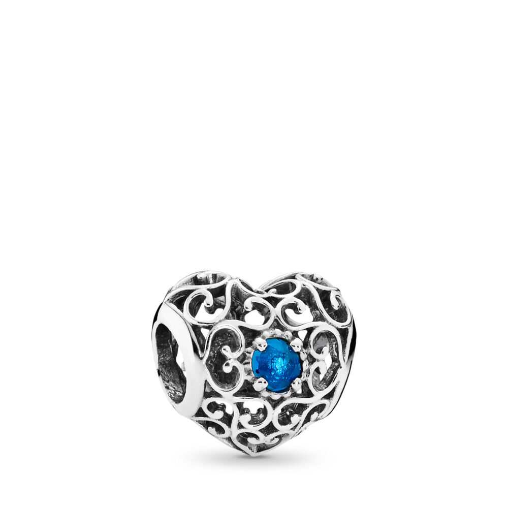 December Signature Heart Birthstone Charm Sterling Silver Blue
