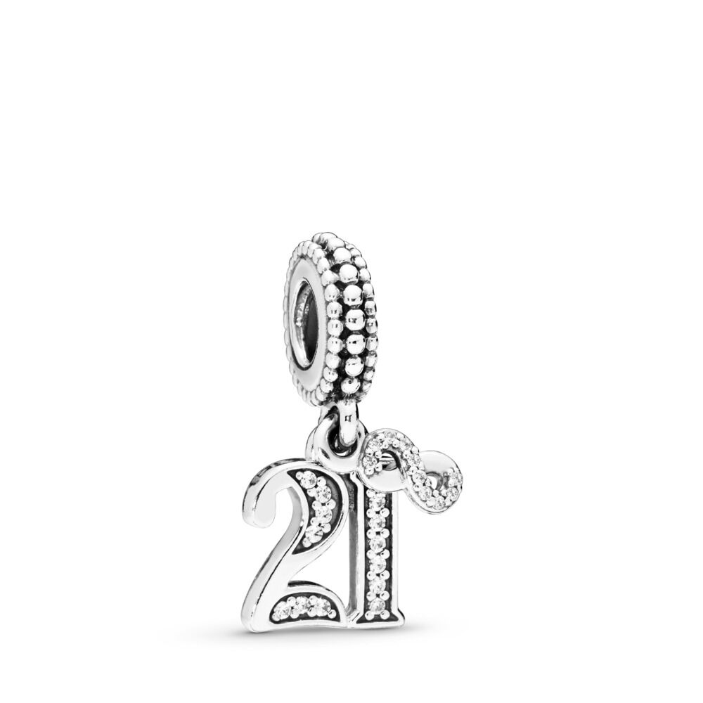21 Years Of Love Pendant Charm Sterling Silver Cubic