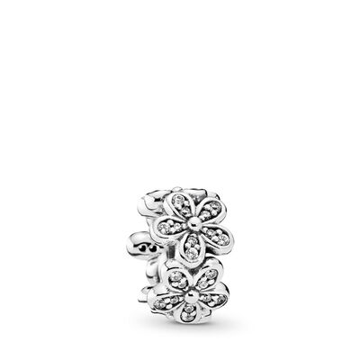 Dazzling Daisies Spacer, Sterling silver, Cubic Zirconia - PANDORA - #792053CZ