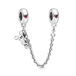Disney, Climbing Mickey Safety Chain, Sterling silver, Red, Cubic Zirconia - PANDORA - #797173CZR