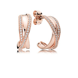 Interwined Hoop Earrings, PANDORA Rose, Cubic Zirconia - PANDORA - #280730CZ