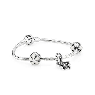 Daisies & Butterfly Silver Charm Bracelet