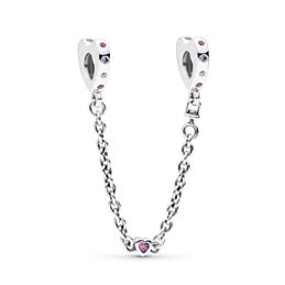 Bright Hearts Safety Chain, Sterling silver, Purple, Mixed stones - PANDORA - #797245NRPMX