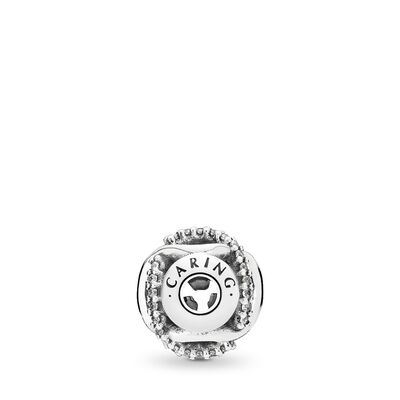 ESSENCE Caring Openwork Charm, Sterling silver, Silicone, Cubic Zirconia - PANDORA - #796072CZ