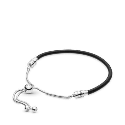 Moments Sliding Leather Bracelet Black