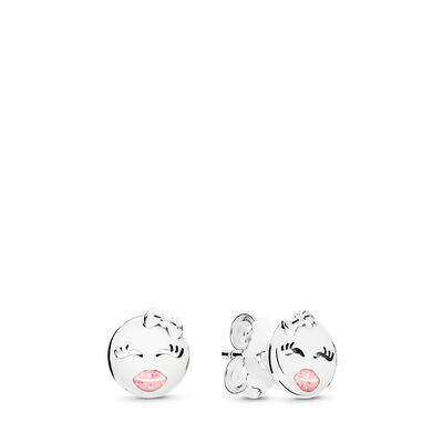 Playful Wink Stud Earrings, Sterling silver, Enamel, Pink - PANDORA - #297102EN161