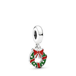 Holiday Wreath Pendant Charm, Sterling silver, Enamel, Green - PANDORA - #796362ENMX