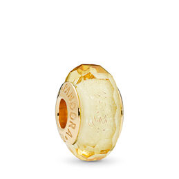 Golden Faceted Glass Murano Charm, PANDORA Shine, Glass, Gold - PANDORA - #767647