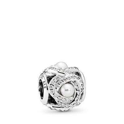 Luminous Love Knot Charm, Sterling silver, White, Mixed stones - PANDORA - #792105WCP