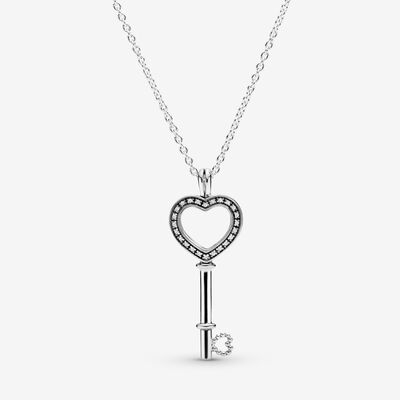 Pandora Lockets Heart Key Necklace, Sterling Silver, Mixed material, Clear, Cubic Zirconia - PANDORA - #396581CZ