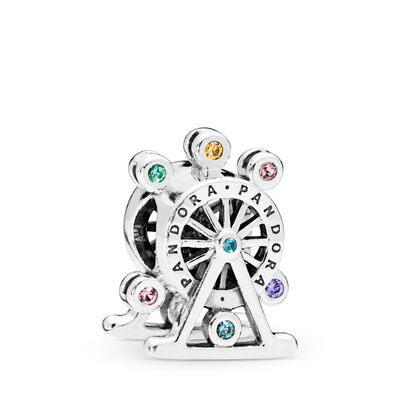 Colour Wheel Charm, Sterling silver, Blue, Mixed stones - PANDORA - #797199NLCMX