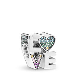 Multi-colour Love Charm, Sterling silver, Blue, Mixed stones - PANDORA - #797189NRPMX