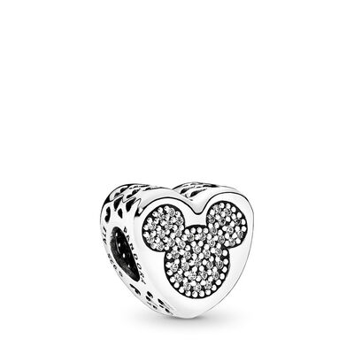 Disney, Mickey & Minnie True Love Charm, Sterling silver, Cubic Zirconia - PANDORA - #792050CZ