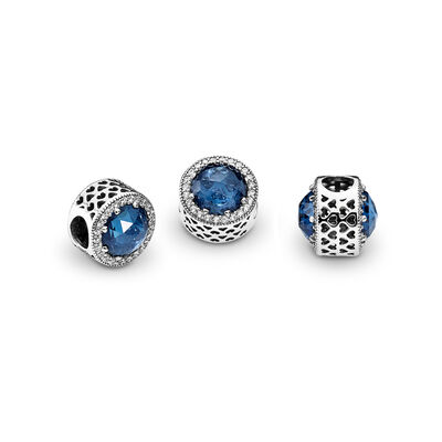 Midnight Blue Radiant Hearts Charm, Sterling silver, Blue, Mixed stones - PANDORA - #791725NMB