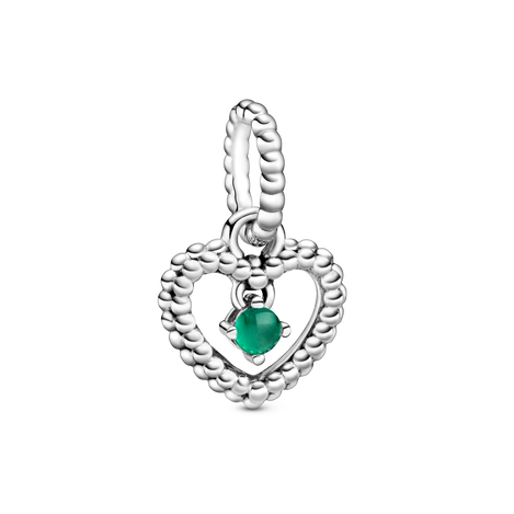 May Birthstone Heart Dangle Charm