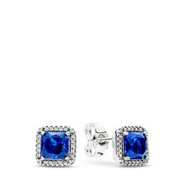 Blue Timeless Elegance Stud Earrings, Sterling silver, Blue, Mixed stones - PANDORA - #290591NBT